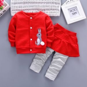 Red Spring & Winter girls Cute Rabbit Shirt & Short Skirt Pants