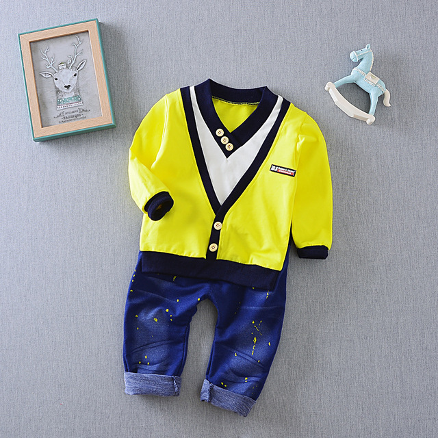 9m -5 years-Two pieces yellow white sweater V-neck shirt pants islamabad online shop