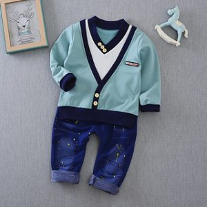 9M -5 years-Blue white V-neck shirt and highlighted jeans for baby boy