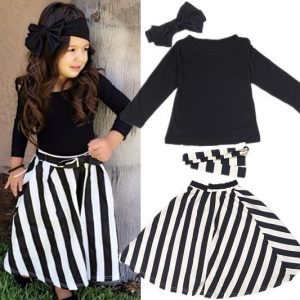1-6 years - Party outfit plain black belt, top and long skirt