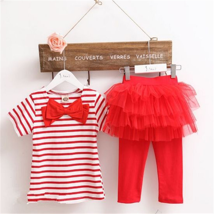 180M-6 years - Spring/Summer_ Red stripe Top and flares tights islamabad online shop