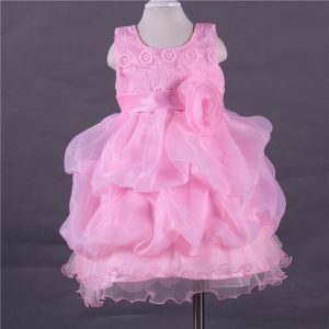 2-10 years - Spring/Summer_ princess pink formal wear laced Frock