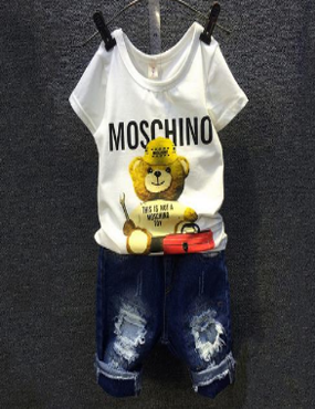 2-7 years baby (kids+Toddler) boys clothing white bear T- shirt+ Denim blue pants Islamabad online shop