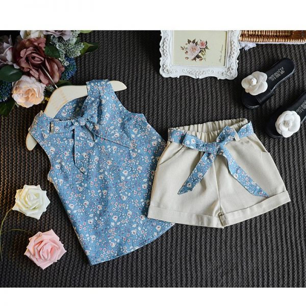 2-7 years baby (kids+toddler) girls trend fashion Blue funky sleevless knotted blouse+half skirt Islamabad online shop