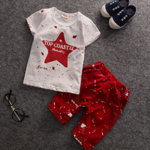 9month-4 years-baby (kids+Toddler) boys clothing star tag t-shirt+ red splashed painted short pants