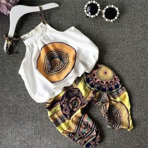 2-7 years-style baby (kids+toddler) girls trend fashion funky off sleeves O-neck blouse+ printed Trouser Islamabad online shop