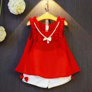 2-7 years-style baby (kids+toddler) girls trend fashion formal off sleeves attached pearls necklace A-line frock+ lose bow pants Islamabad online shop
