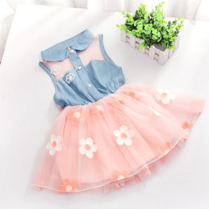 3-6 years-Gorgeous girls (kids+toddler) baby girl casual trend turn down collar Applique flowers attached frock