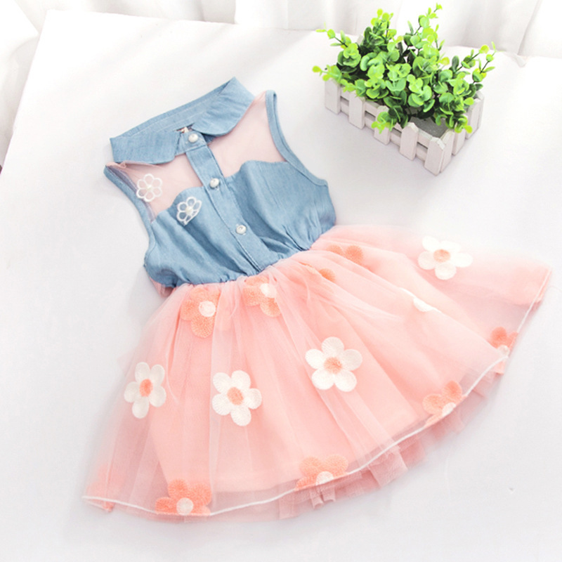 3-6 years-Gorgeous girls (kids+toddler) baby girl casual trend turn down collar Applique flowers attached frock Islamabad online shop