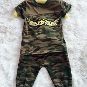 1- 4 years attractive summer Army Embroider shirt with trouser