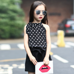 3-9 years Girls clothes sets polka dot gauze vests and shorts 2 pieces summer cartoon T-shirts for girls boys suits