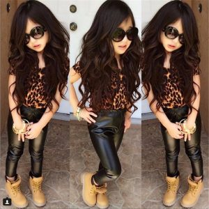 1-7 years 2018 children clothing summer leather trousers and cotton Shirt for girls summer clothes black leather pants baby girl outfits