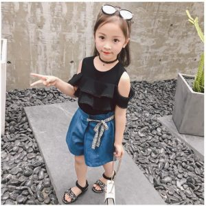 2-7 years 2019 new summer girl denim shorts + bare shoulder clothing two pieces of plaid