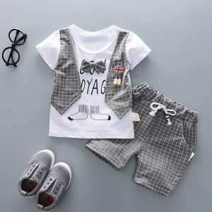 9 month - 4 years TUXEDO PRINTED VEST STYLE T-SHIRT & LONG SHORTS SET - Grey