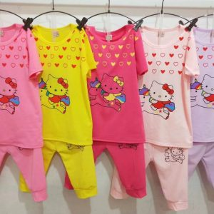 2-6 years Cute kitty 2 pcs baby girl dresses Multiple Colours