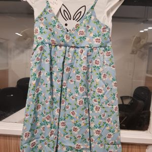 3-7 years Long Gown Style Summer Outfit - Blue