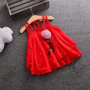 Red Chiffon Baby Girl Rose Frock - Islamabad