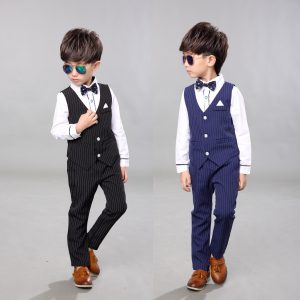 Handsome Boy Waist Coat +Suit Shirt +pants + Bow + Belt Set - Islamabad