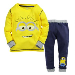 1-7 years 2018 new yellow minion  long-sleeved suit with denim jeans, children leisure wear