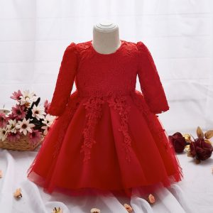 6 months-2 years Lace Flowers Children Bridesmaid Elegant Dress in Red