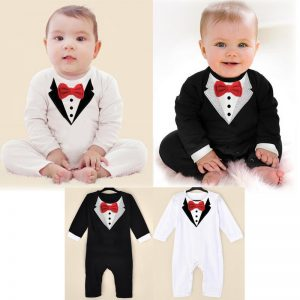 White Gentleman baby clothes romper Print Plain Baby Romper Cotton Infant Rompers