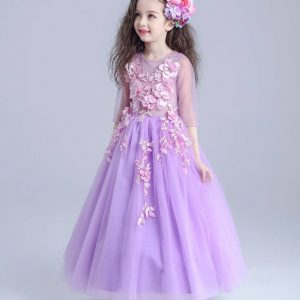 4-12 years Purple Pink Floral Gown - Islamabad