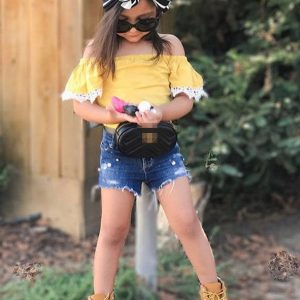 6 month-5 years Children Clothing 2019 summer Girls Clothes set 2Pcs fashion Outfit off shoulder top + Jeans shorts