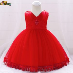 6-24 months new model Red baby girl party dress children new frocks design