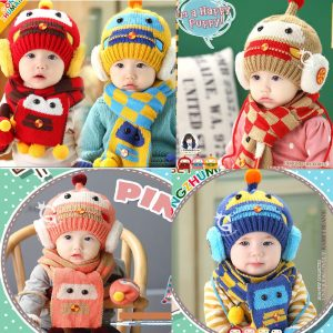 Robot Winter Wool Cap & Muffler
