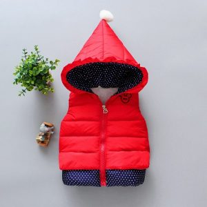 2-5 years beautiful attractive Red hoodie sleeveless jacket for your little stars-retail
