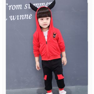 0-5 years 2019 Adrorable horn style warm woven red upper with white shirt and warm woven trouser 3 piece extra warm imported new winter arrivals for your stylish boys and girls- Islamabad