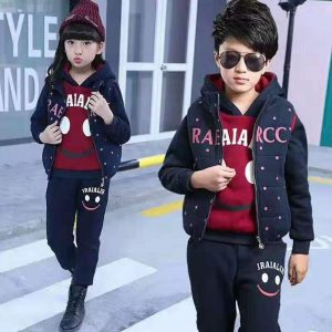 4-10 years 2019 Adorable polyester filled navy blue jacket, hooded maroon upper and warm navy blue trouser 3 piece extra warm imported new winter arrivals for your stylish boys and girls- Islamabad